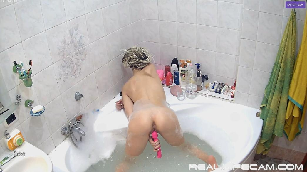RealLifeCam Masha Big Dildo Masturbate in Jacuzzi Tight Asshole