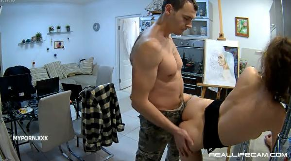 Reallifecam Eva and Sam Behind Sex in Kitchen