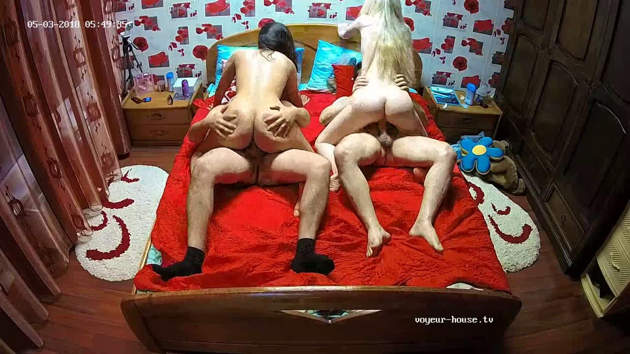 Voyeur House Real Teen Couple 4some Orgy with Julya & Raul in Bedroom