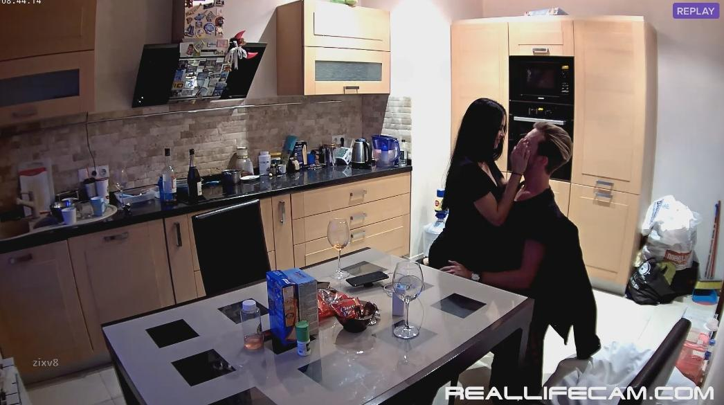 RealLifeCam Jasmin and BF Sensual Kissing in Kitchen