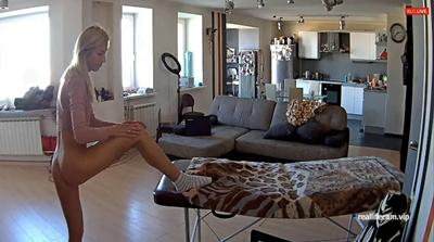 RealLifeCam Nelly Naked Exercise in the livingroom
