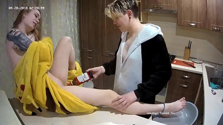 Foxy and Kira beer & toys Lesbian Couple in Kitchen at Voyeur House HD videos