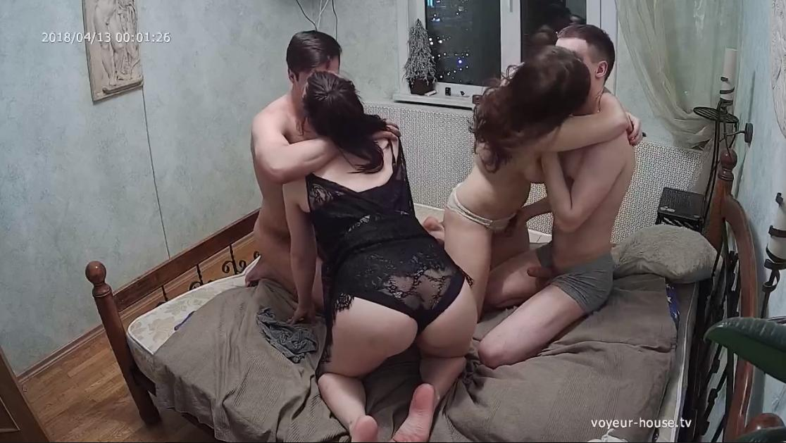 Valery and Ray, Polly Orgy in Bedroom at Voyeur House HD videos