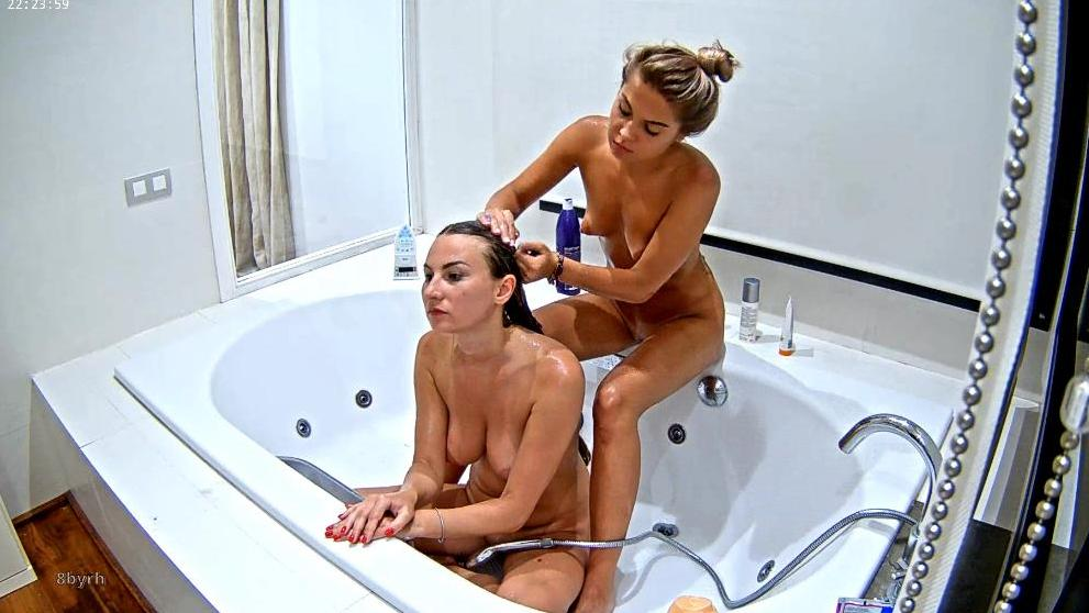 RealLifeCam Girls On Vacation Shower Together in Jacuzzi