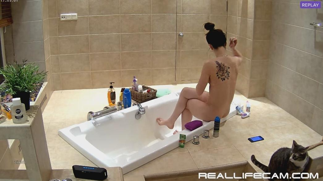 RealLifeCam Stesha Charming Nude Teen Shower in Bath