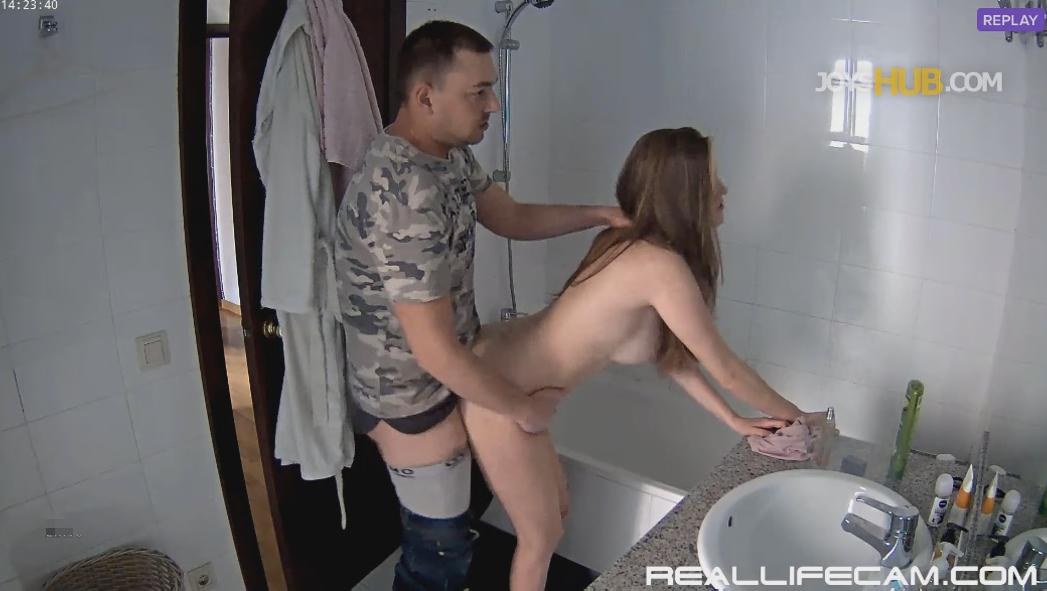 RealLifeCam Martina and Alberto Hot Teen Doggy Sex in Bathroom
