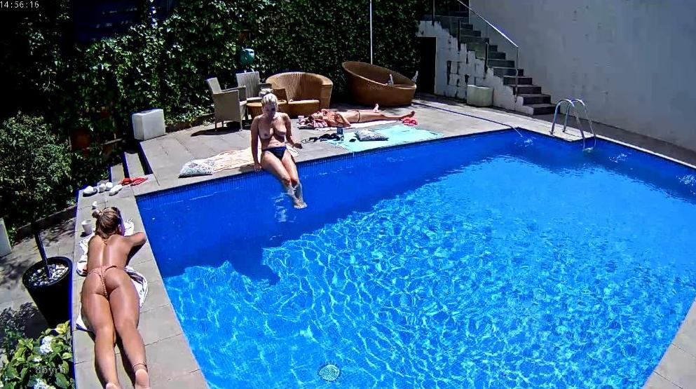 RealLifeCam Girls on Vacation Sexy Nudist Pool in Backyard